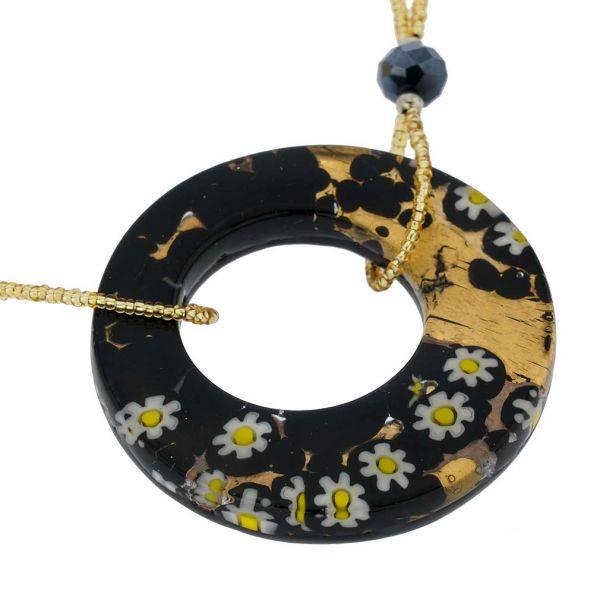 Murano Lava Necklace - Black and Gold