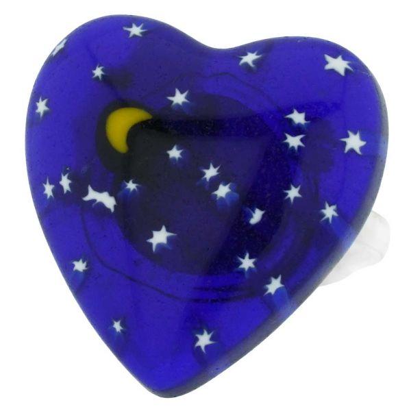 Murano Millefiori Heart Ring - Starry Night