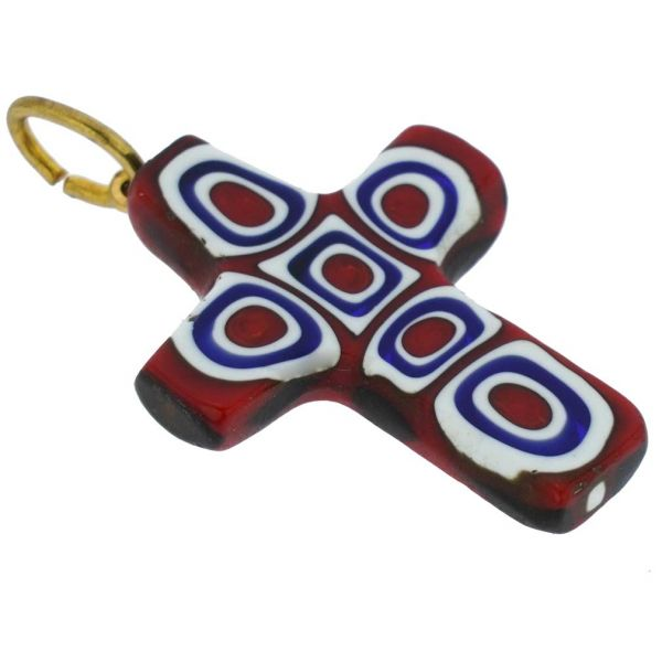 Millefiori Mosaic Cross Pendant - Red