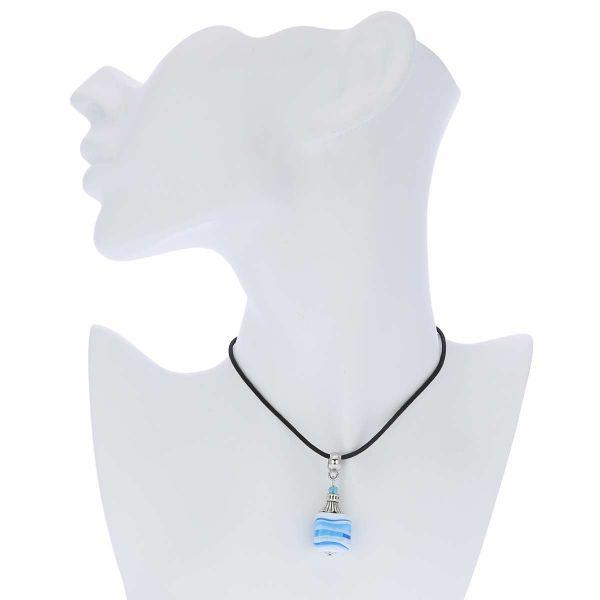 Venetian Marble Cube Pendant - Aquamarine