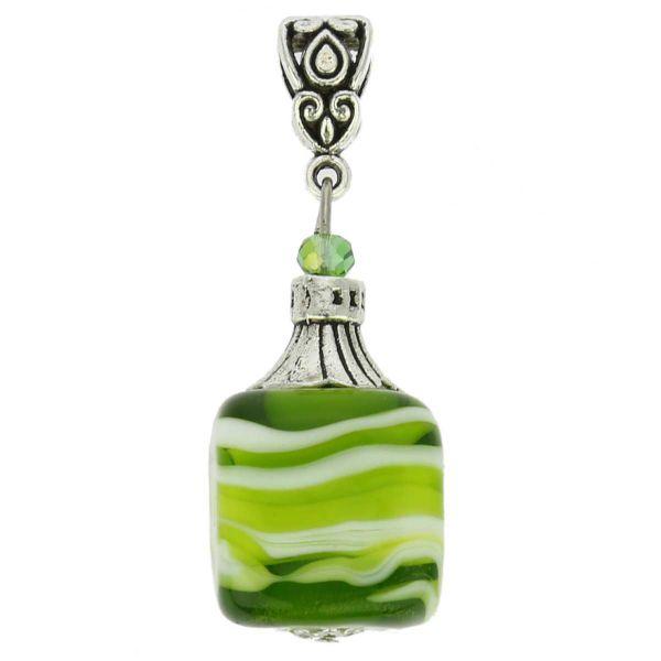 Venetian Marble Cube Pendant - Emerald