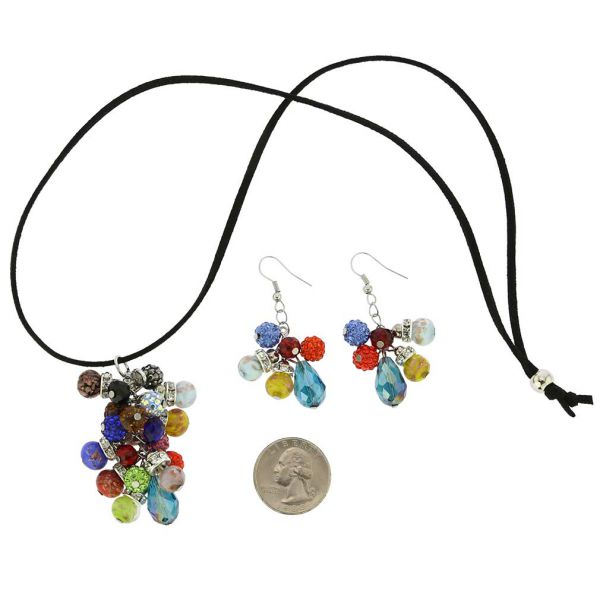 Venetian Charms Murano Necklace and Earrings Set - Multicolor