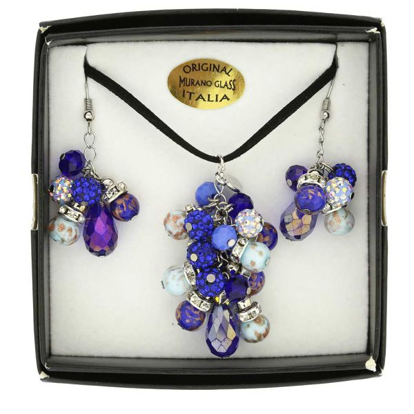 Venetian Charms Murano Necklace and Earrings Set - Blue