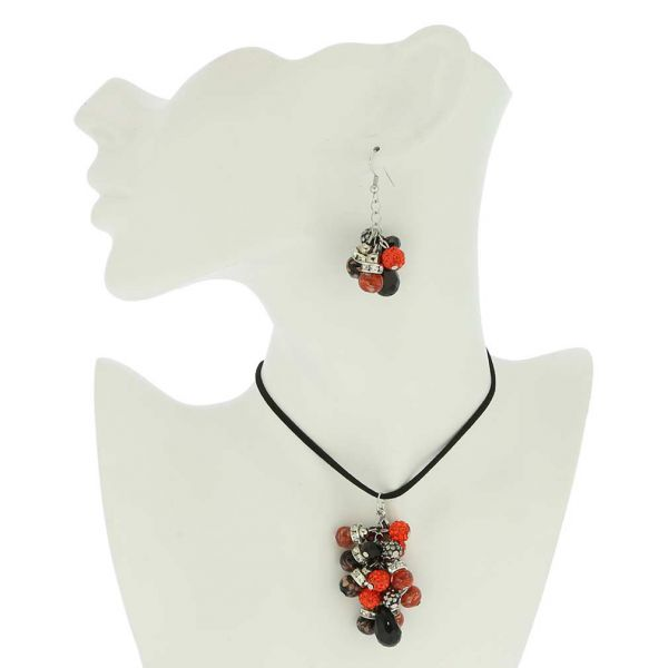 Venetian Charms Murano Necklace and Earrings Set - Red