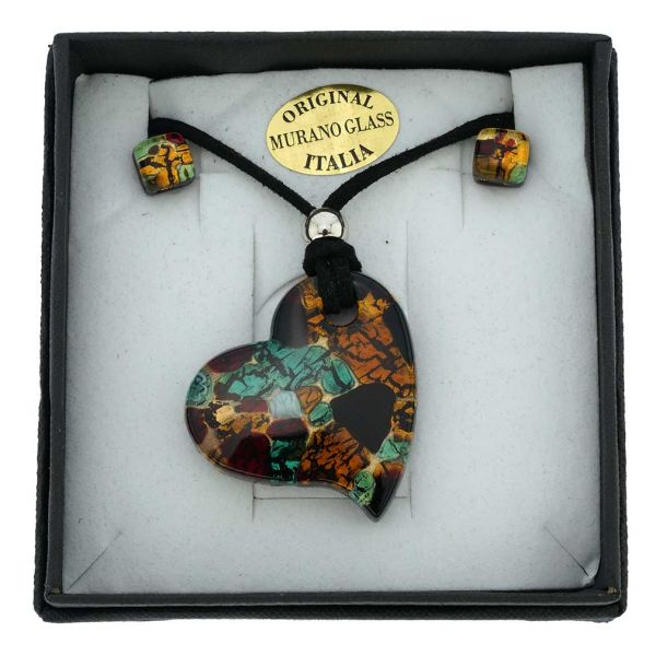 Venetian Reflections Heart Necklace and Earrings Set