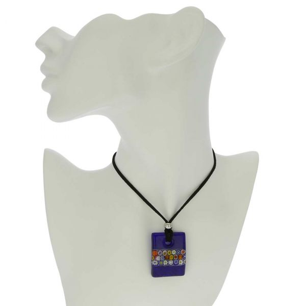Murano Glass Millefiori Blue Necklace and Earrings Set