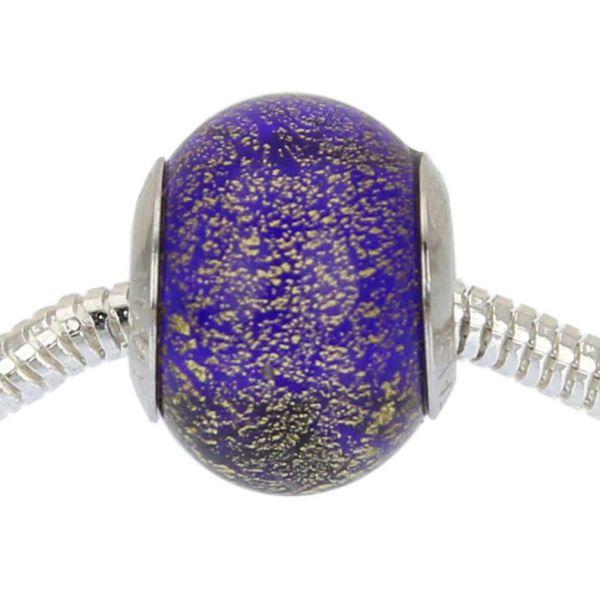 Sterling Silver Ca D\'Oro Blue Murano Glass Charm Bead