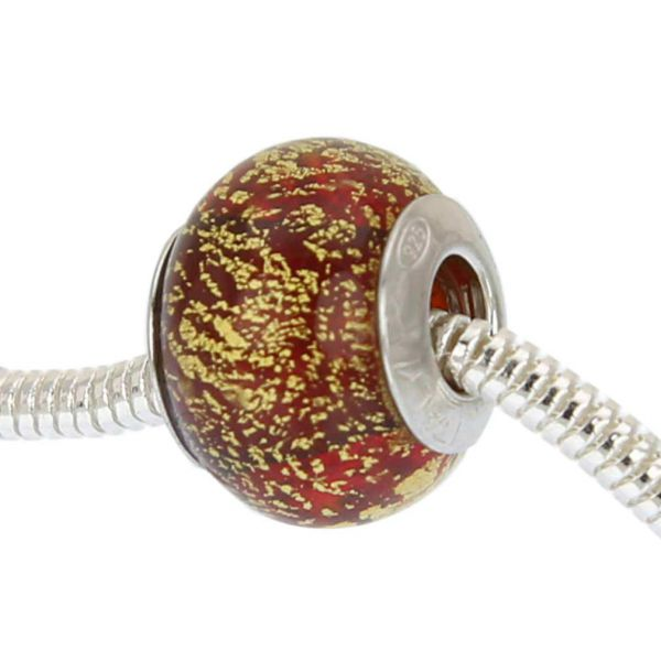 Sterling Silver Ca D\'Oro Red Murano Glass Charm Bead