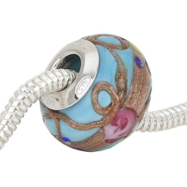 Sterling Silver Fiorato Aqua Murano Glass Charm Bead