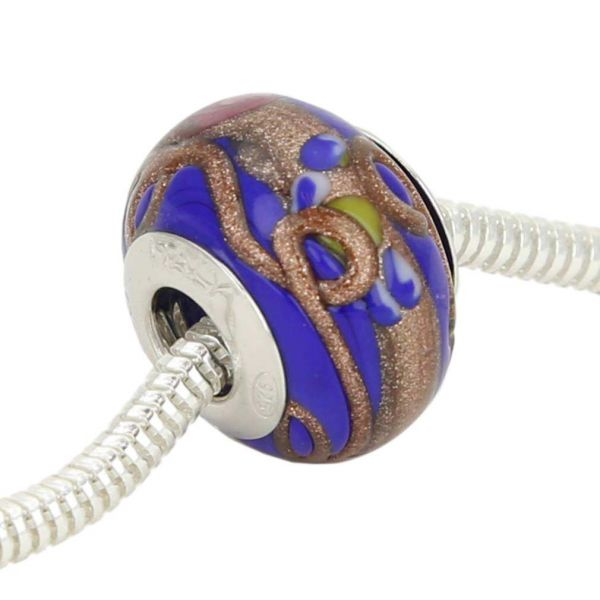 Sterling Silver Fiorato Blue Murano Glass Charm Bead