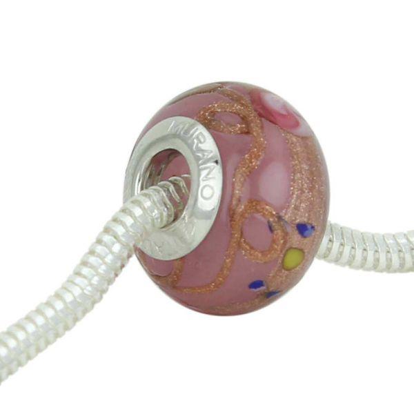 Sterling Silver Fiorato Rose Murano Glass Charm Bead