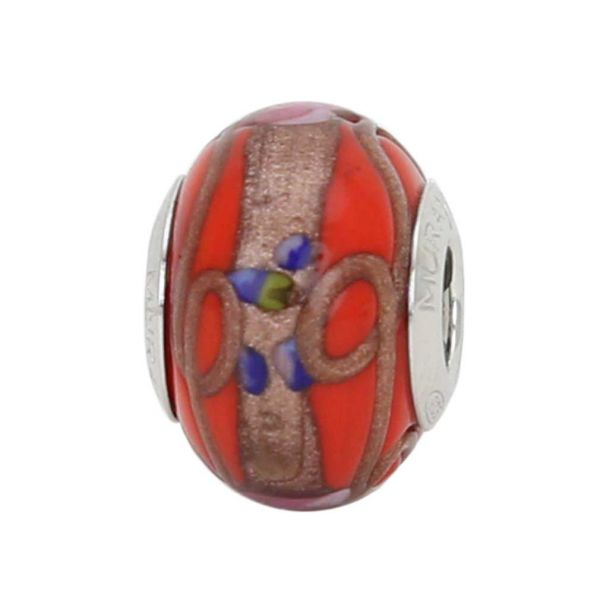 Sterling Silver Fiorato Light Red Murano Glass Charm Bead
