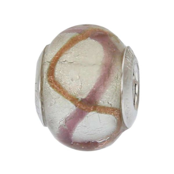 Sterling Silver Purple Waves Murano Glass Charm Bead