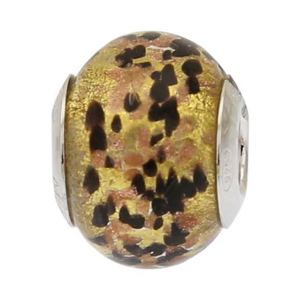 Black Gold Confetti Murano Glass Charm Bead