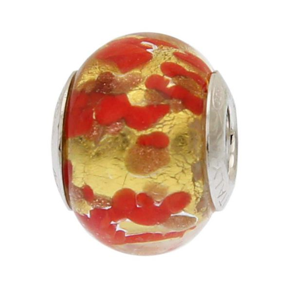 Red Gold Confetti Murano Glass Charm Bead