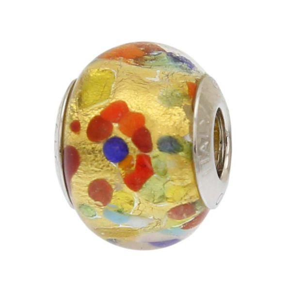 Gold Multicolor Confetti Murano Glass Charm Bead