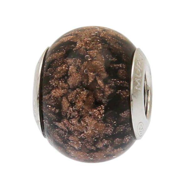 Sterling Silver Black Avventurina Murano Glass Charm Bead