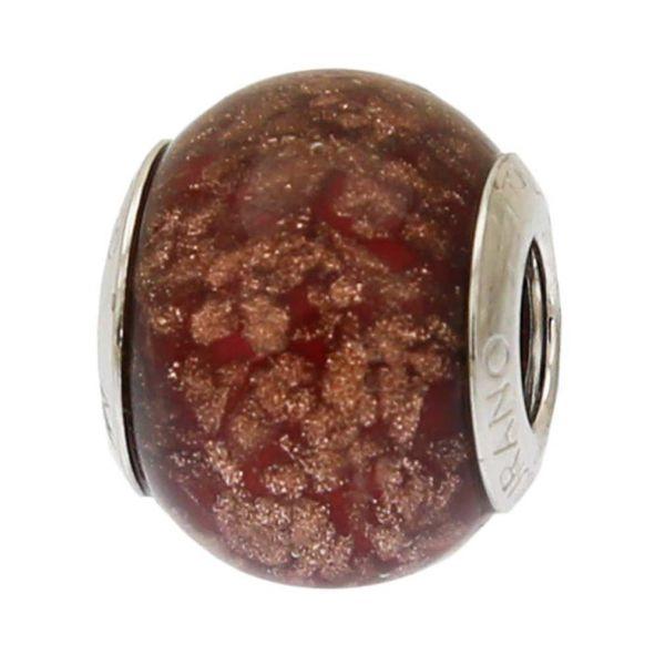 Sterling Silver Red Avventurina Murano Glass Charm Bead