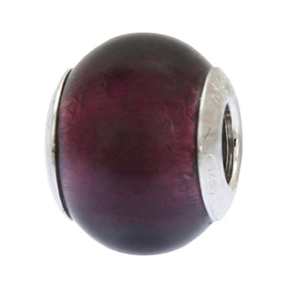 Sterling Silver Purple Murano Glass Charm Bead
