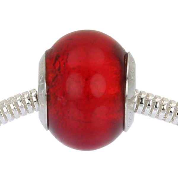 Sterling Silver Red Murano Glass Charm Bead