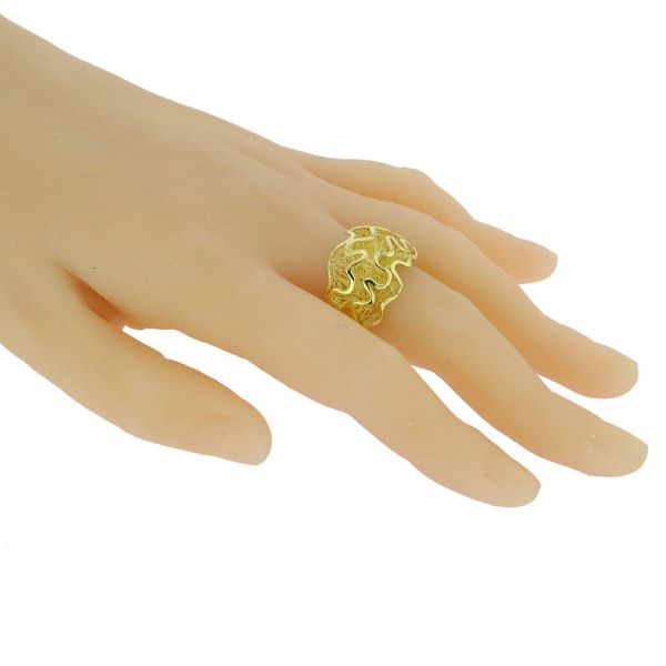 Fluid Flower Sterling Silver Gold-Plated Ring