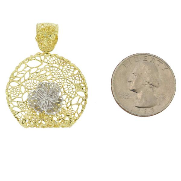 Italian Rose Sterling Silver Gold-Plated Pendant