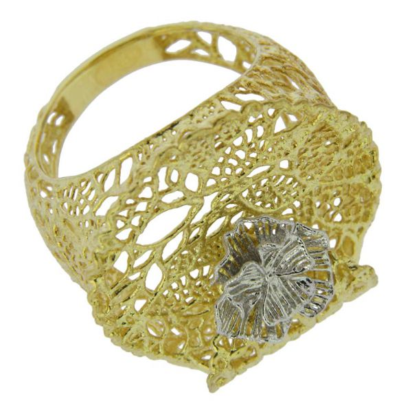 Italian Rose Sterling Silver Gold-Plated Ring
