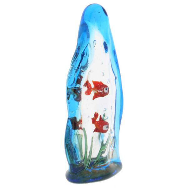 Murano Glass Aquarium With Two Tropical Fish - 4 inches