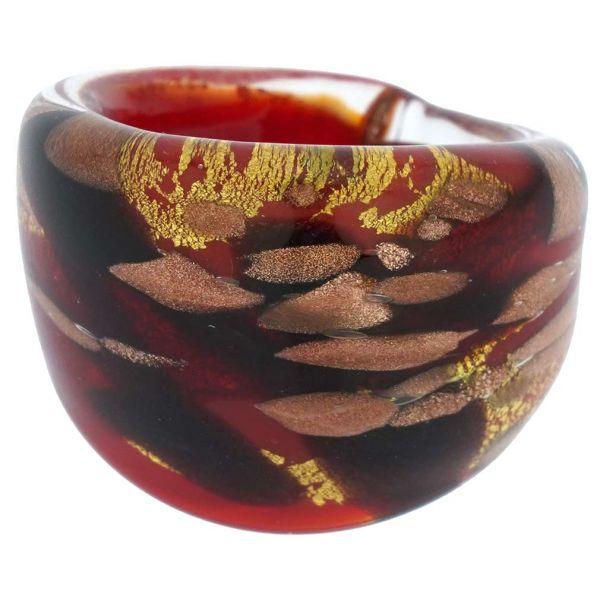 Murano Ring In Domed Design - Red
