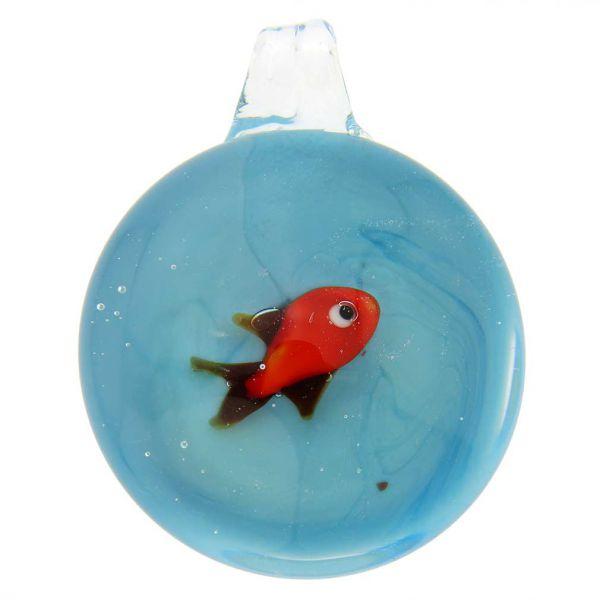Murano Glass Aquarium With Fish Pendant