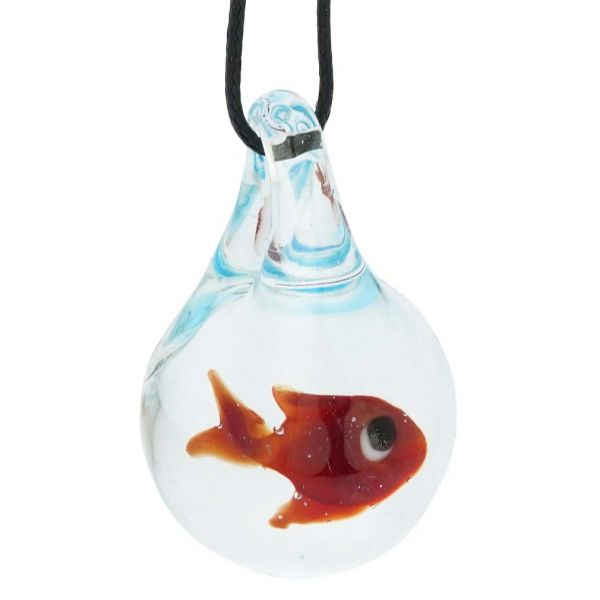 Murano Glass Aquarium With Fish Pendant - Clear