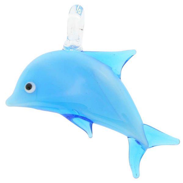 Murano Glass Dolphin Pendant - Blue