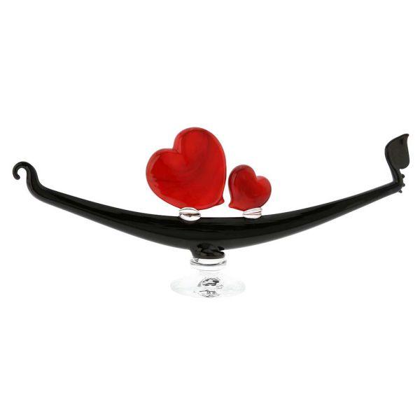 Murano Glass Romantic Hearts Gondola