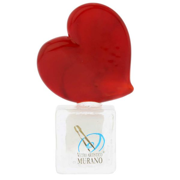 Murano Glass Red Heart On Ice Cube