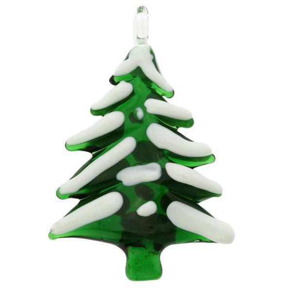 Murano Glass Snow-Covered Christmas Tree Ornament
