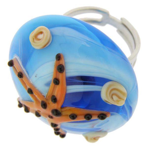Ocean Life Adjustable Domed Murano Ring