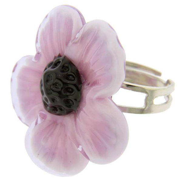 Purple Flower Adjustable Murano Ring
