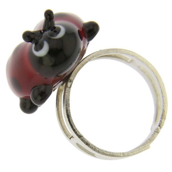 Ladybug Adjustable Murano Ring