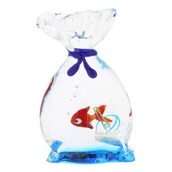 Murano Glass Aquarium Bag With Tropical Fish - 3 inches