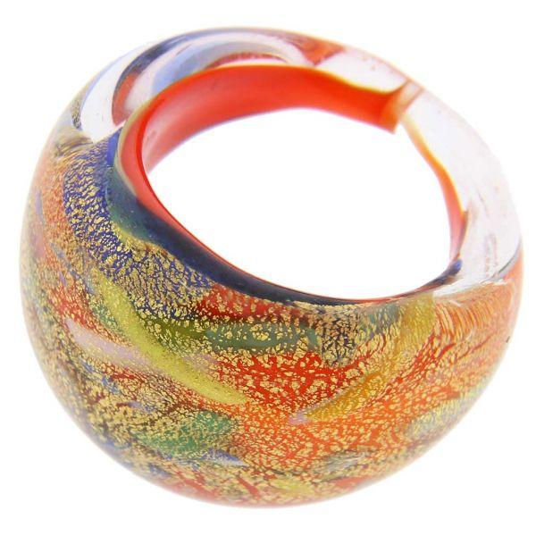 Avventurina Dancing Fire Ring In Domed Design