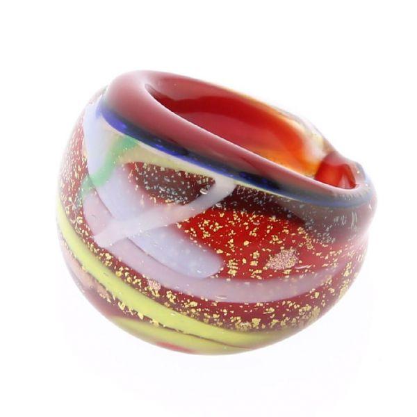 Avventurina Sparkling Red Ring In Domed Design