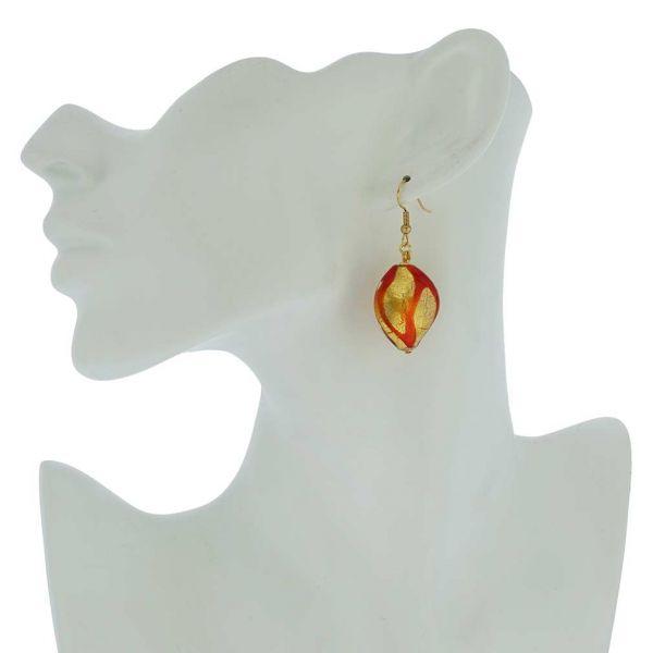 Royal Red Spiral Earrings