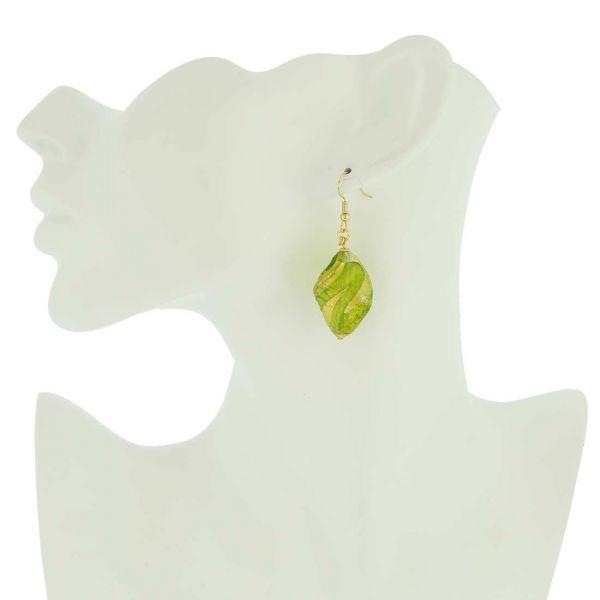 Royal Green Spiral Earrings