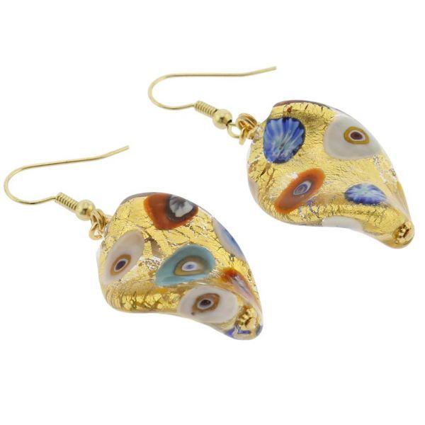 Murano Glass Klimt Spiral Earrings