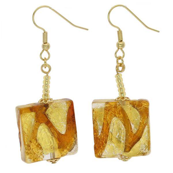 Royal Cognac Squares Earrings