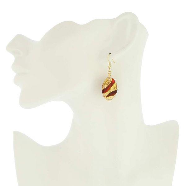 Royal Red Oval Earrings