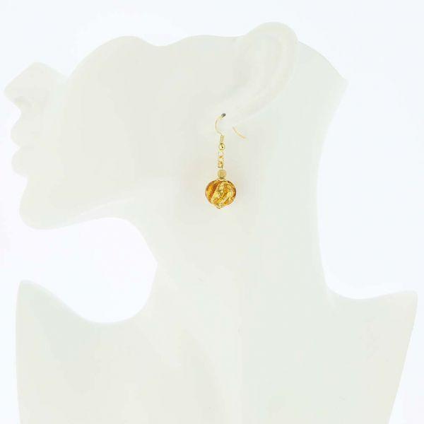 Royal Cognac Ball Earrings