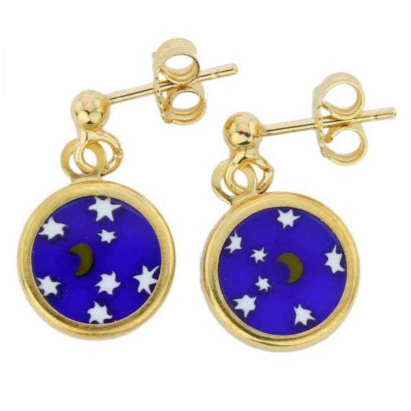 """Millefiori Earrings in Gold-Plated Frame \""""Starry Night\"""""""