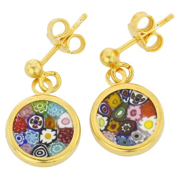 """Millefiori Earrings in Gold-Plated Frame \""""Multicolor\"""""""