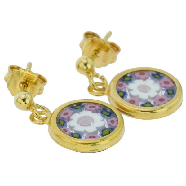 Millefiori Earrings in Gold-Plated Frame